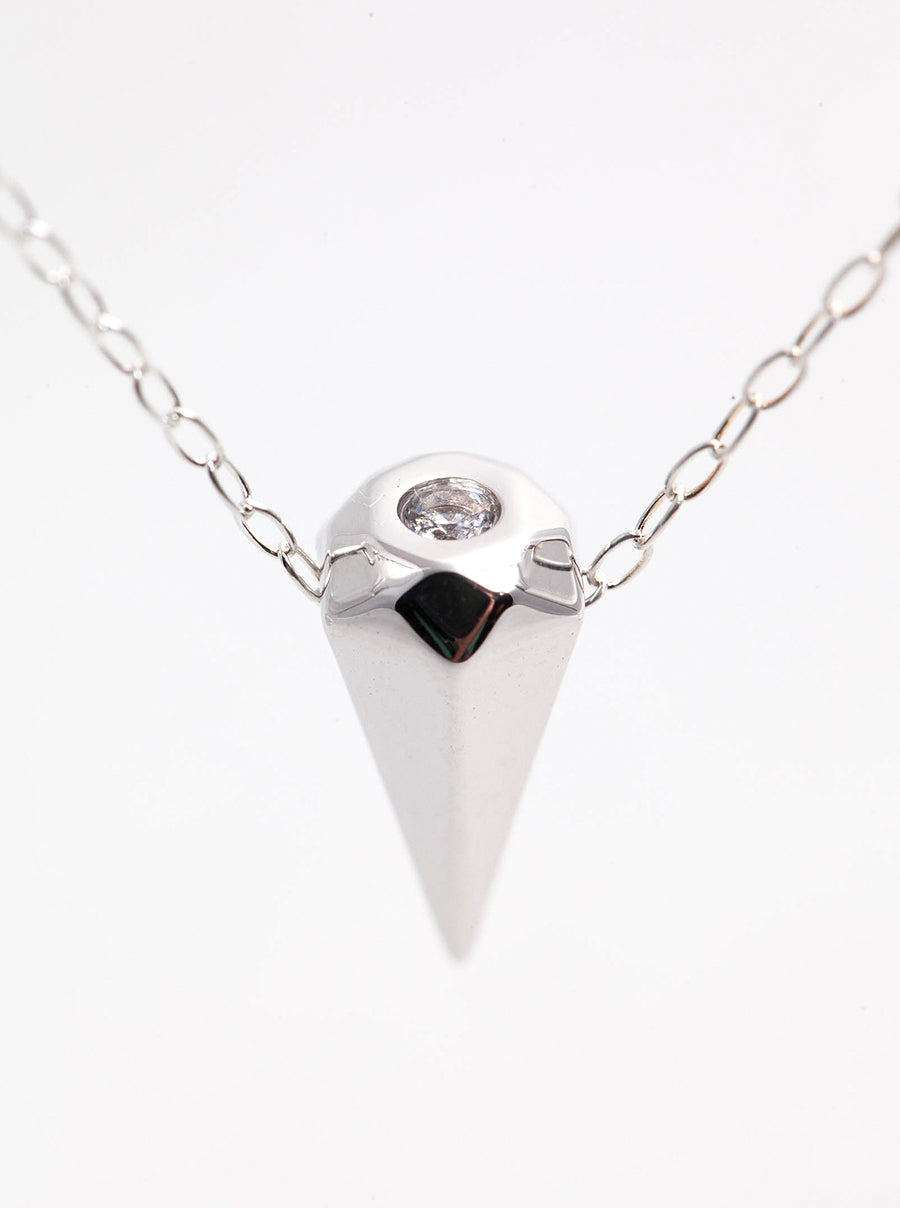 Silver Diamond Spike Necklace