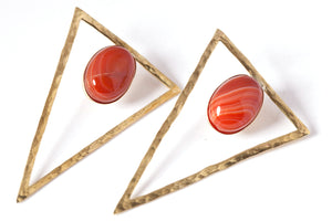 Triangle Earrings with Stones