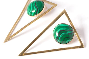Triangle Earrings with Round Stones