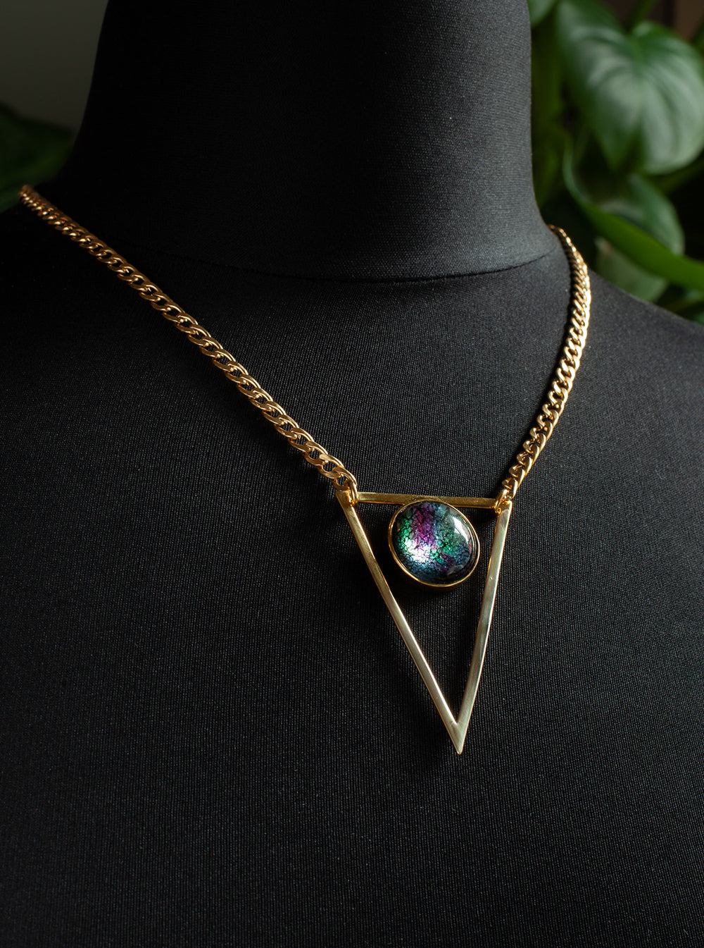 Gold Triangle Necklace - Select Stone