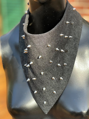 Black Washed Denim Glamdana® with Silver Spikes