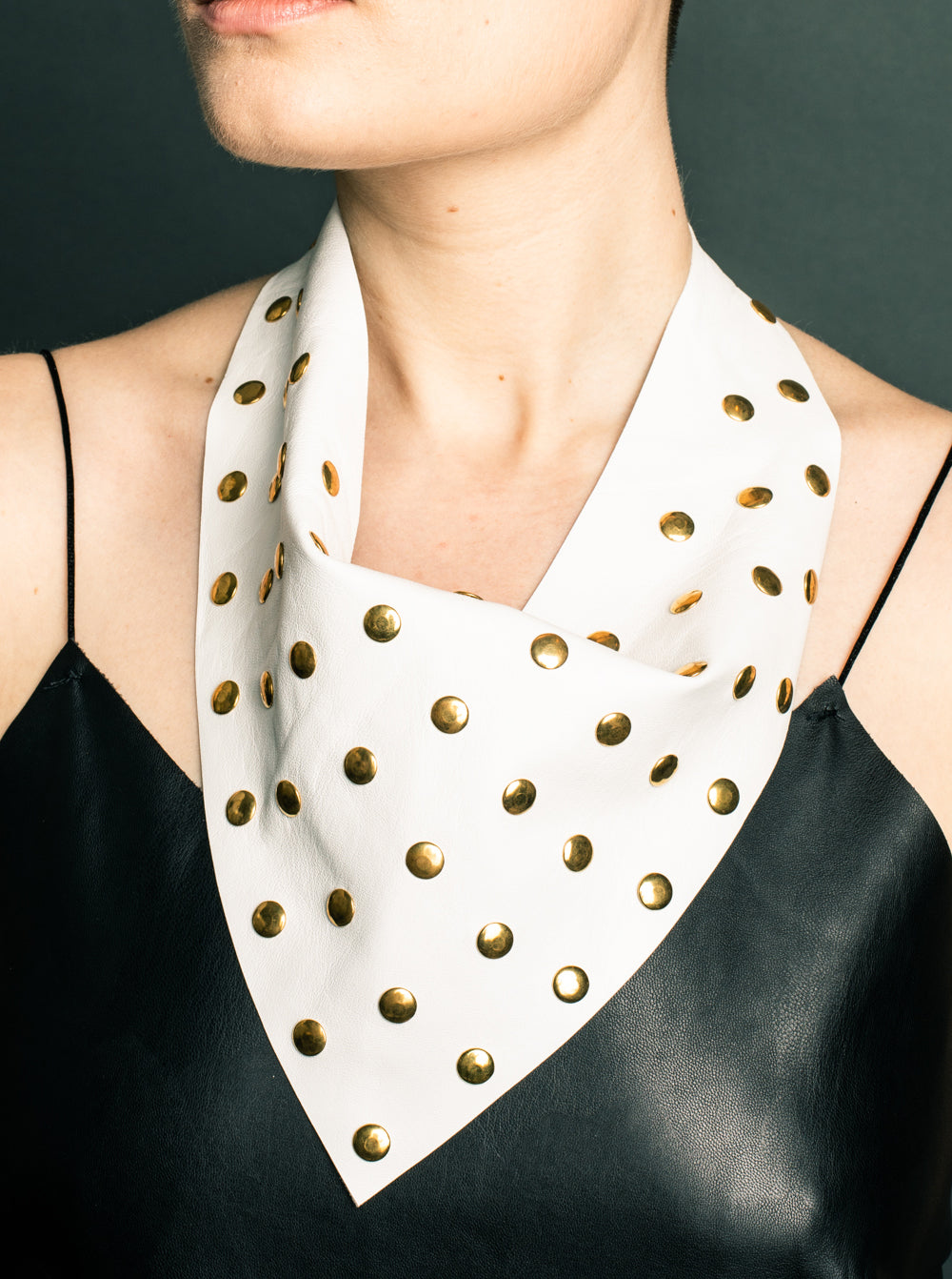 White Leather with Flat Gold Rivets