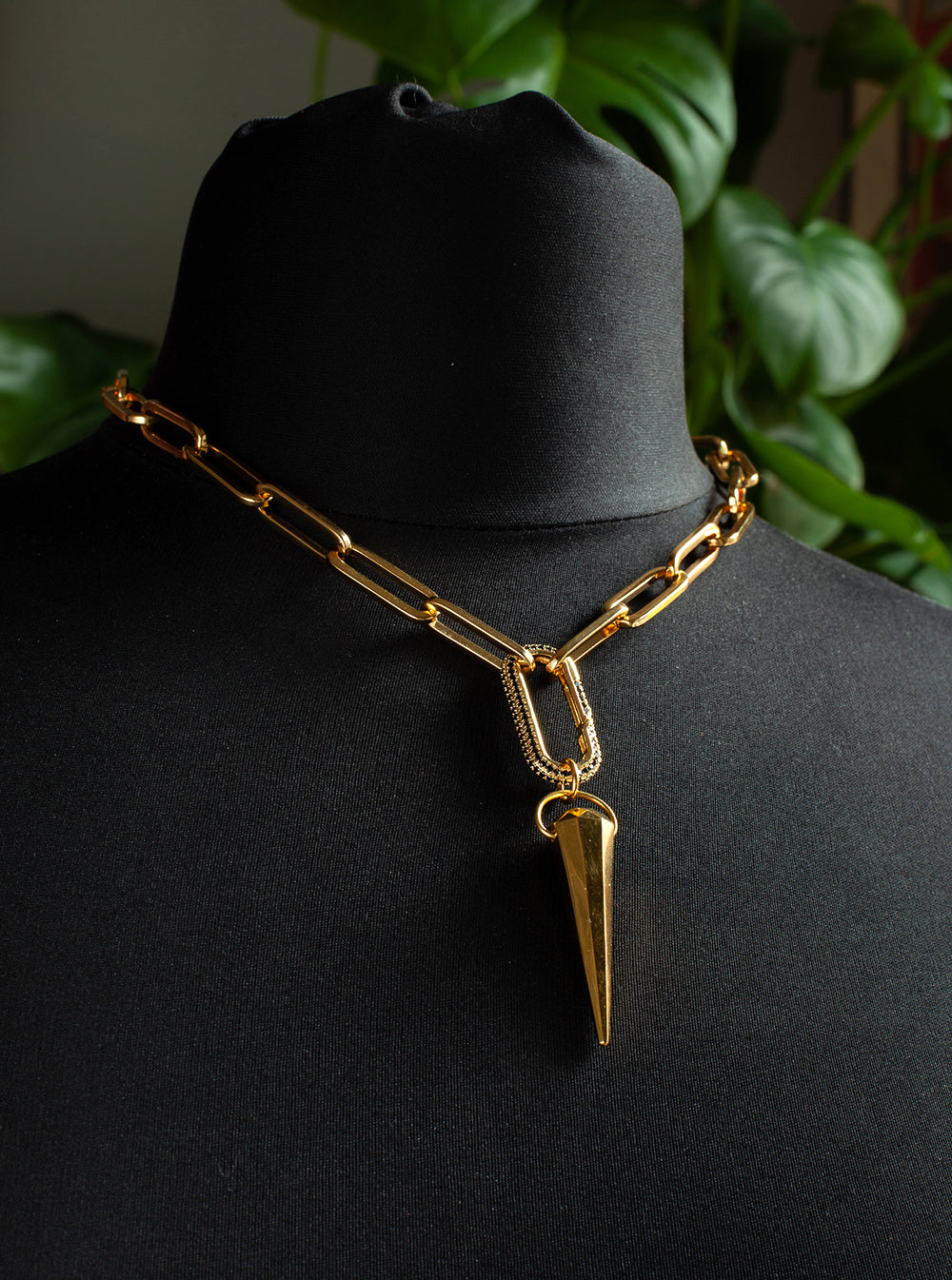 Gold Spike Pave Carabiner Necklace