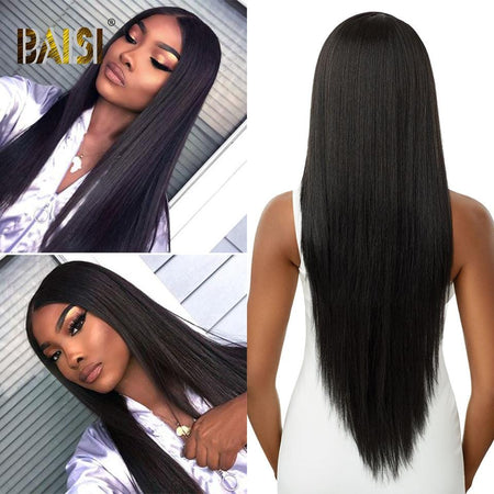 BAISI Perruque Noeuds Blanchis Lisse Straight Preplucked