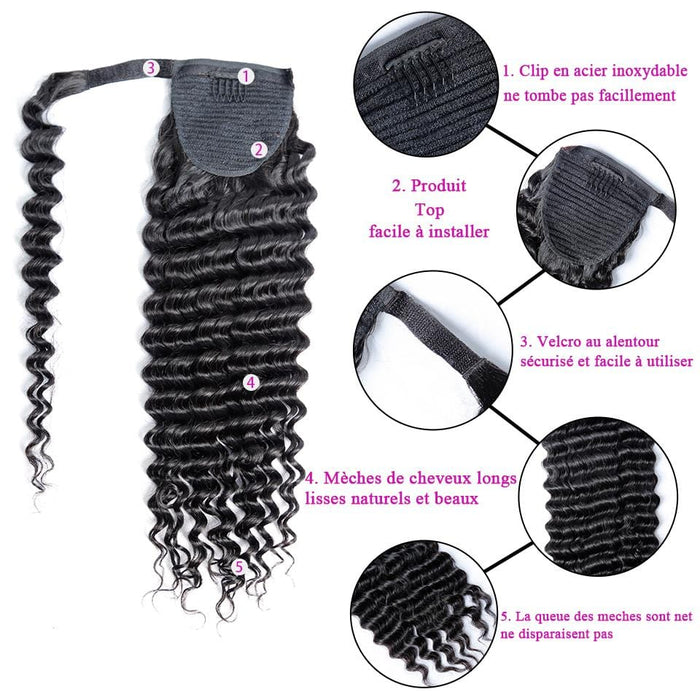 BAISI Queue De Cheval  Deep Wave En 100% Cheveux Naturels