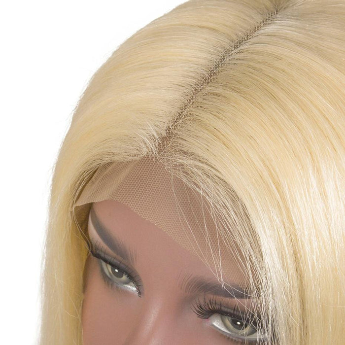BAISI #613 T-Part Lace Frontal Perruque Lisse Blonde Avec Transparent lace 13x1x6