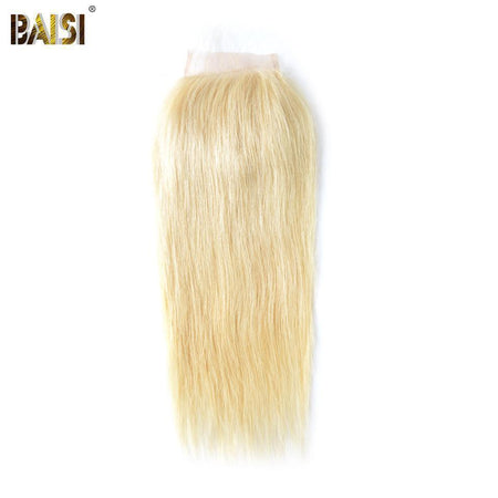 BAISI 8A 100% Human Hair Blonde #613 Straight Lace Closure 4x4