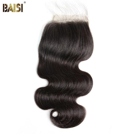 BAISI 10A Lace Closure 4x4/ 5x5 100% Cheveux Vierges Ondulé Body Wave, Base En Soie Closure 4x4