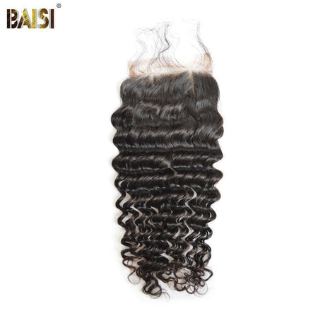 BAISI 8A 100% Virgin Hair Deep Wave Lace Closure 4x4 / 5x5, Silk Based Closure 4x4. - Baisi Hair