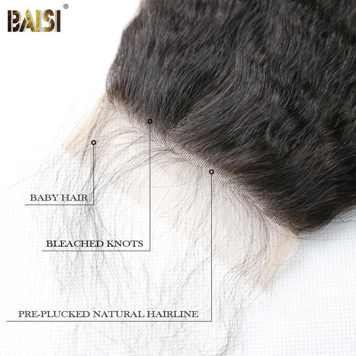 BAISI 10A Lace Closure 4x4 En 100% Cheveux Vierges Kinky Straight