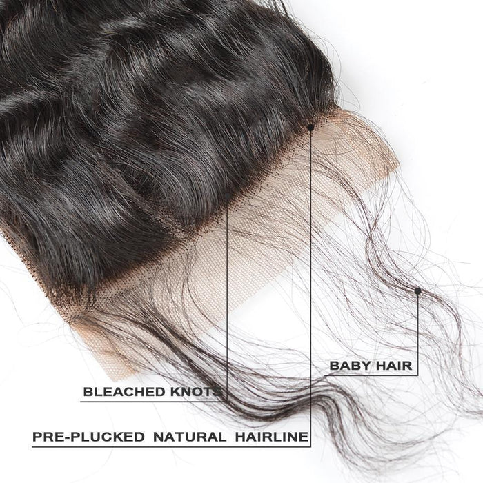 BAISI 8A 100% Virgin Hair Natural Wave Lace Closure 4x4