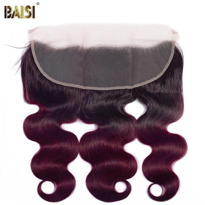 BAISI 10A Tissage 1B 99J# Bourgogne  Ondulé Body Wave Mèche En Lot Avec Closure/Frontal