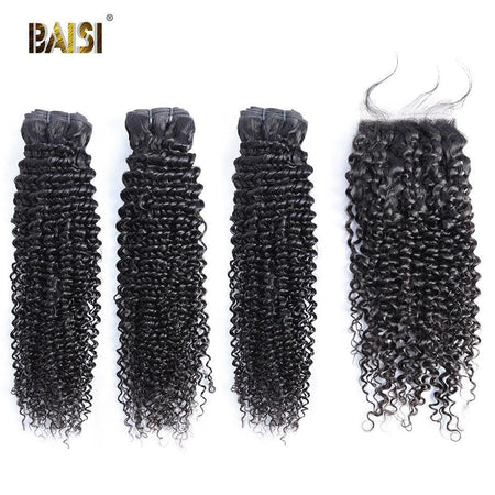 BAISI 8A Curly Human Hair Bundles with Closure/Frontal 8A Bundles with Closure / Frontal Baisi hair