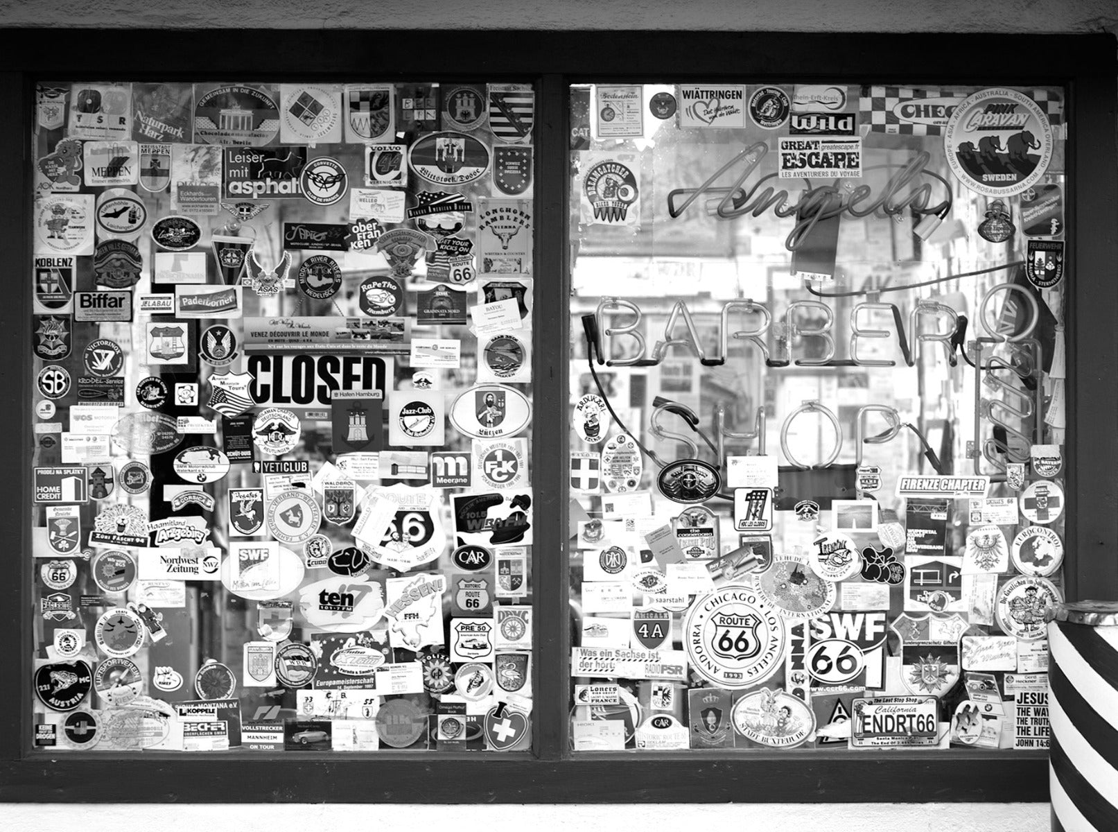 Window covered in stickers