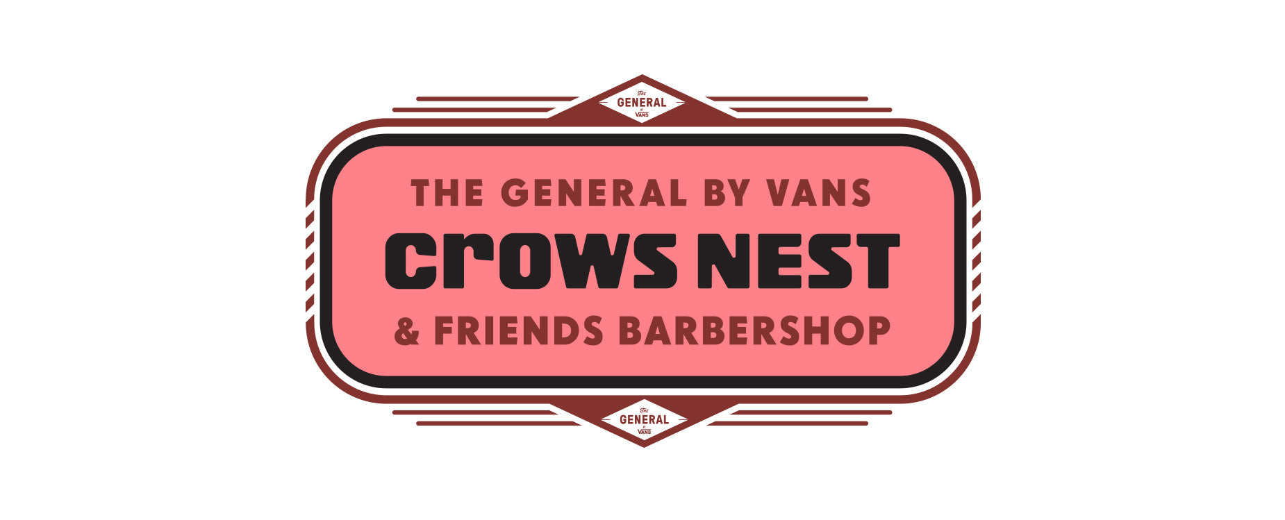 Logo reading The general by vans, crows nest nd friends barbershop