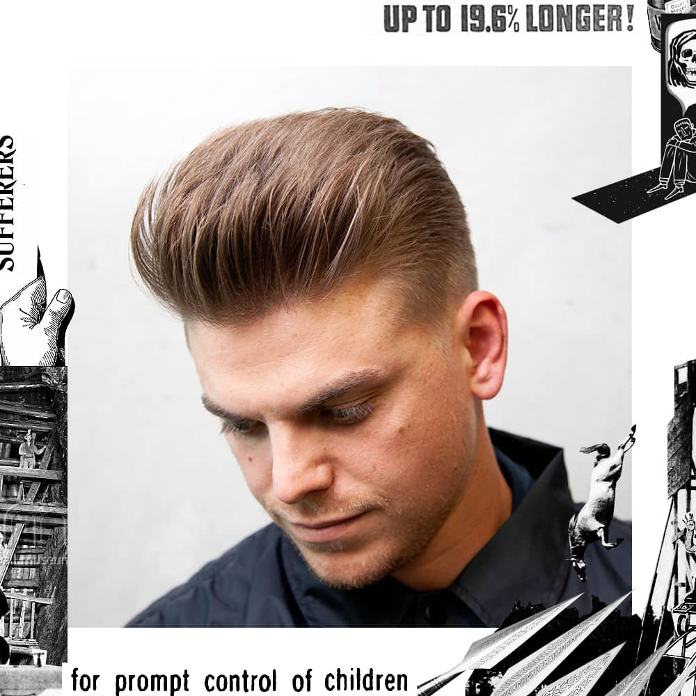Loose Pomp haircut styled with Uppercut Deluxe Clay