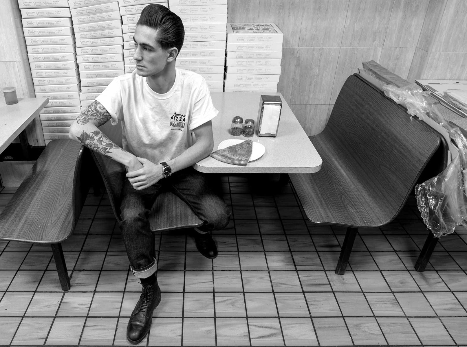 Man sitting at diner table