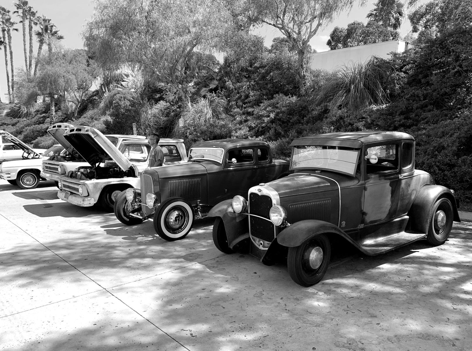 Old cars parked