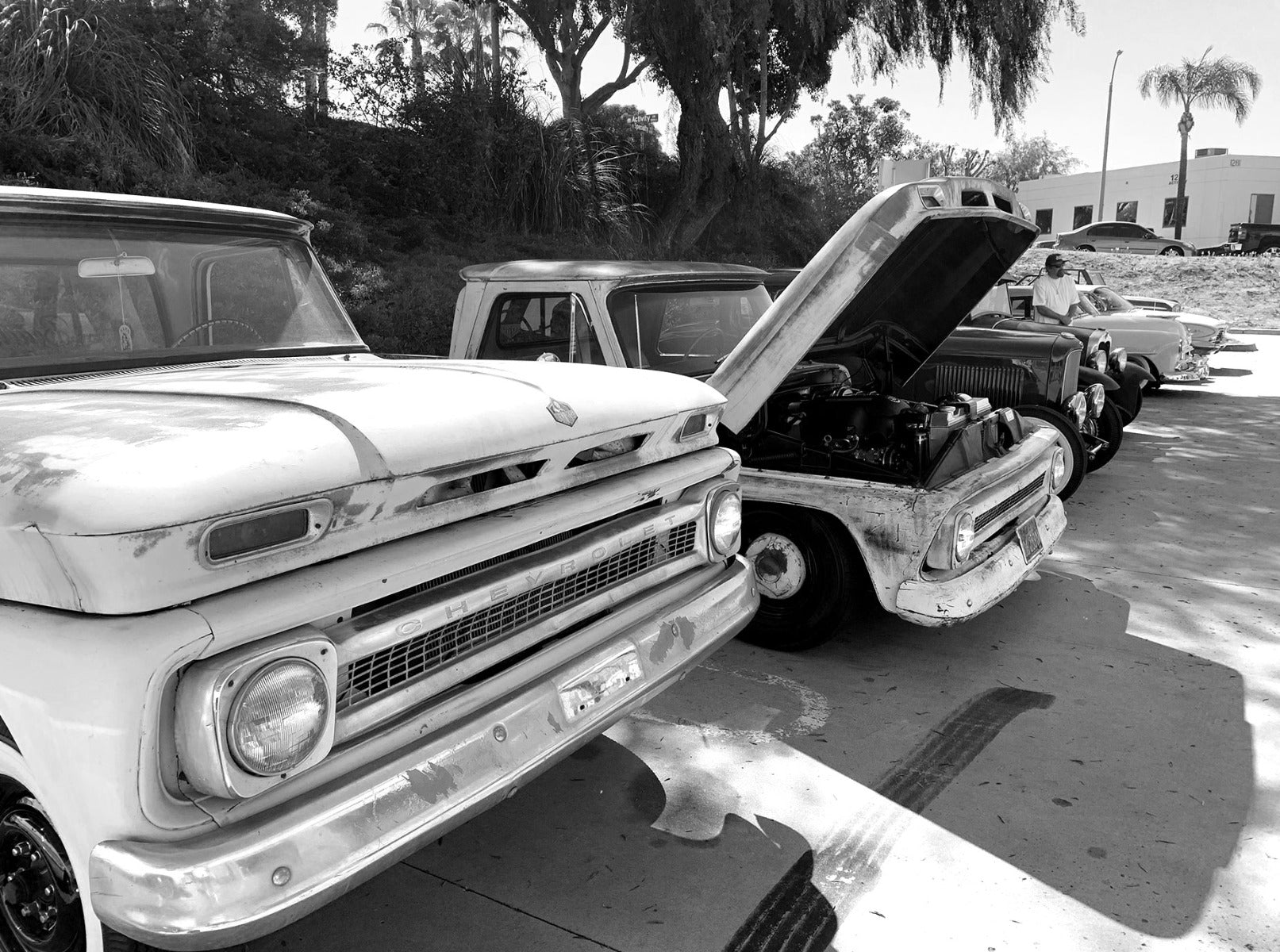 Old cars with hood up