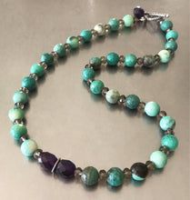 Load image into Gallery viewer, Natural Green Agate Amethyst Smokey Quartz Necklace