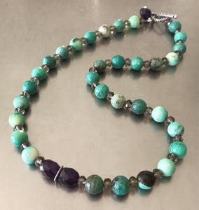 Natural Green Agate Amethyst Smokey Quartz Necklace