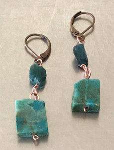 Chrysocolla Slab Raw Apatite Earrings
