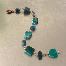 Load image into Gallery viewer, Chrysocolla Slab Raw Apatite Bracelet