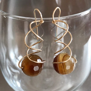 Agate Chiral Spiral Earrings