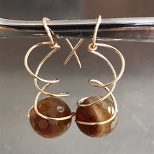 Load image into Gallery viewer, Agate Chiral Spiral Earrings