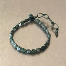 Load image into Gallery viewer, Moss Agate Waxed Cotton Cord Bracelet
