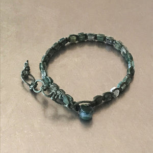 Moss Agate Waxed Cotton Cord Bracelet