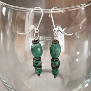 Emerald Dangle Drop Earrings