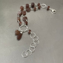 Load image into Gallery viewer, Chocolate Moonstone Sterling Silver Adjustable Bracelet