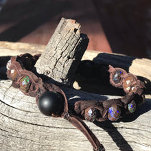 Load image into Gallery viewer, Australian Boulder Opal Deerskin Leather Bracelet