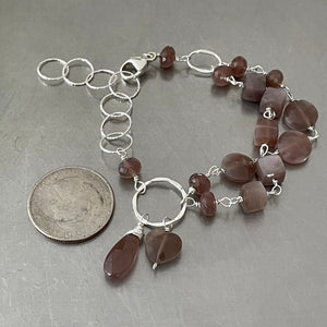 Chocolate Moonstone Sterling Silver Adjustable Bracelet