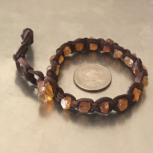 Citrine Deerskin Leather Bracelet
