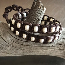 Load image into Gallery viewer, White Pearls Chocolate Brown Deerskin Leather Double Wrap Bracelet