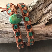 Load image into Gallery viewer, Chrysocolla Deerskin Leather Bracelet