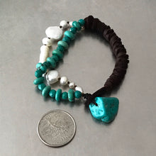 Load image into Gallery viewer, Pearls Turquoise Chocolate Brown Deerskin Leather Bracelet