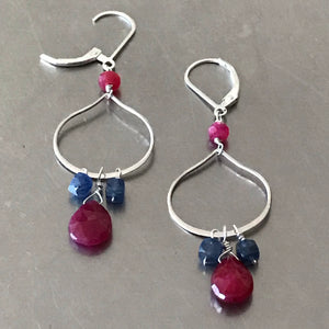 Ruby Sapphire Sterling Silver Dangle Drop Earrings