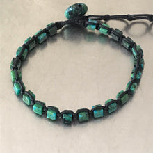 Load image into Gallery viewer, Chrysocolla Waxed Cotton Cord Bracelet