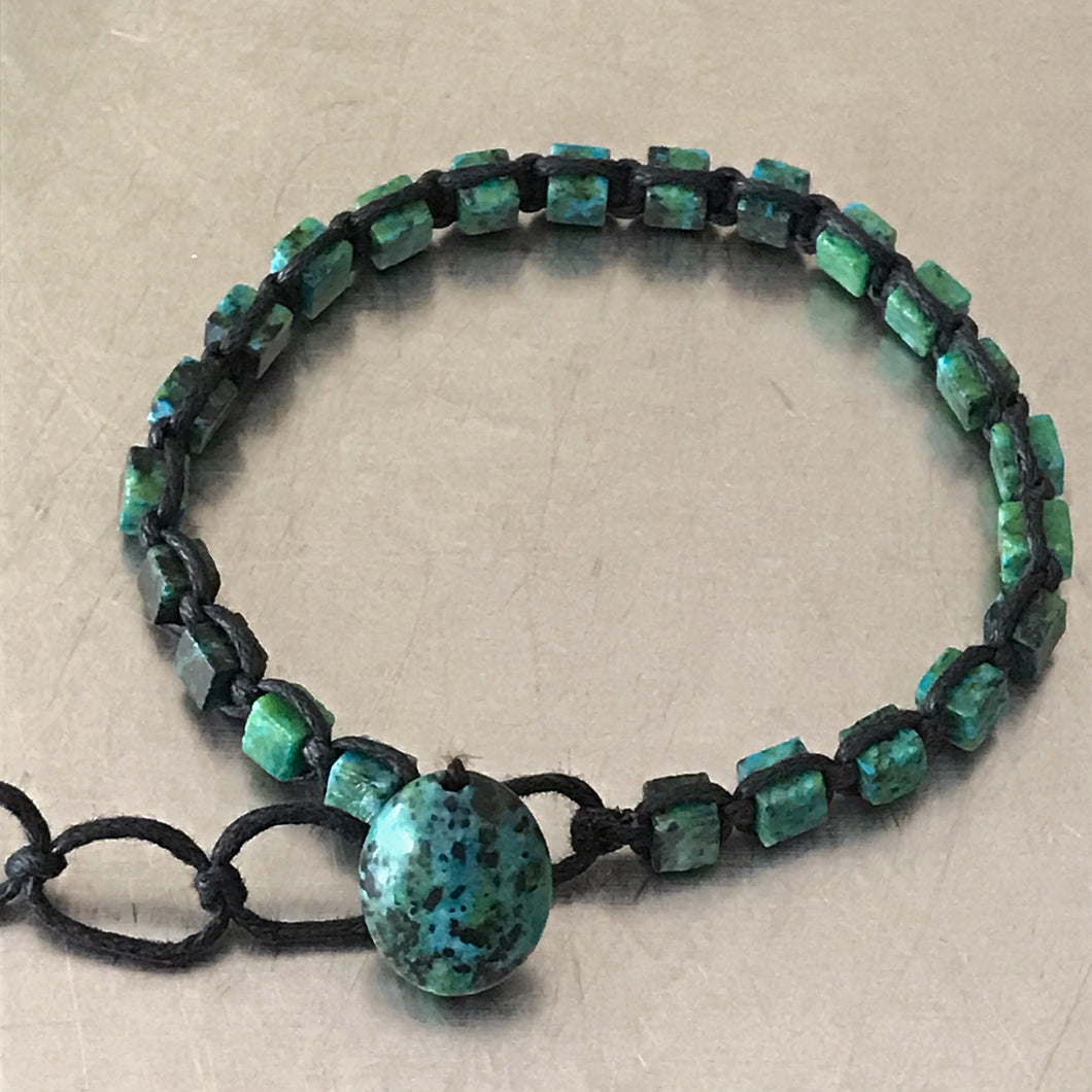 Chrysocolla Waxed Cotton Cord Bracelet