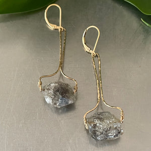 Herkimer Diamond Gold Earrings
