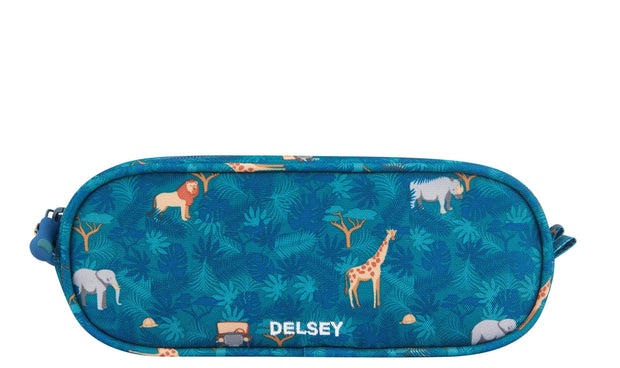 DELSEY SCHOOL 2019 2-CPT PENCIL CASE ADVENTURE KHAKI 00339317303  KHAKI