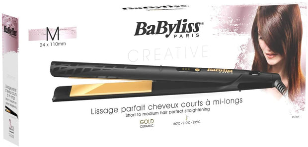 BaByliss BABST420SDE Hair Straightener 3 Temperature LED, 24mm - Gold - Jashanmal Home