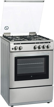 HOOVER 3+1 (WOK) G B 60X60 WITH GAS OVEN & FS STEEL (33000100)-FGC66.02S