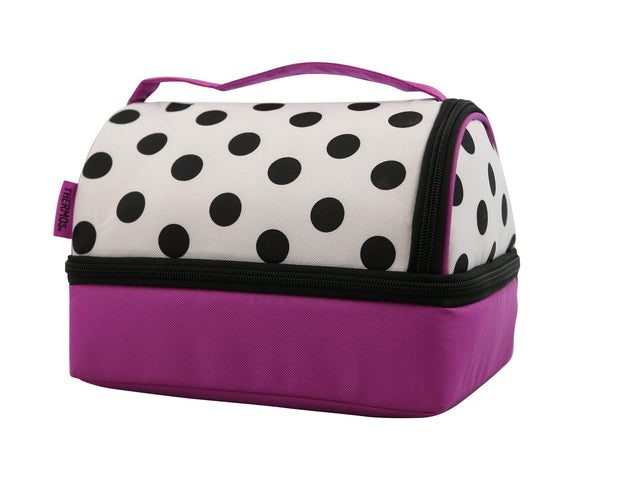 THERMOS RAYA BENTO LUNCH BAG BLK & WHT DOT W/CONT. - 197457
