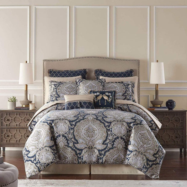 VALENTINA 8PC BEDDING SET KING BLUE