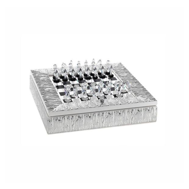 CHESSBOARD ICE EFFECT WOODEN SILVER FRAME AND CRYSTAL CHESS - DC5565/AG