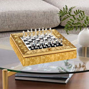 CHESSBOARD ICE EFFECT WOODEN GOLD FRAME AND CRYSTAL CHESS - DC5565/OR